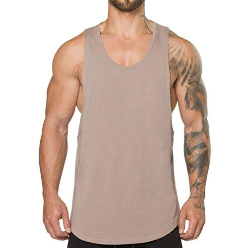 Magiftbox Men's Muscle Gym Workout Stringer Tank Tops Bodybuilding Fitness T-Shirts T01_Khaki_US-XL