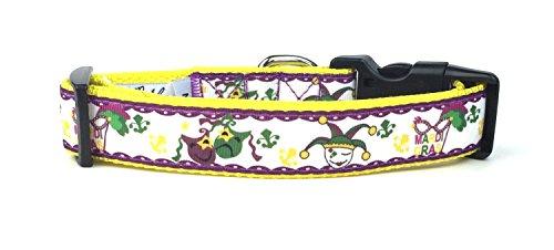 Midlee Large Mardi Gras Jester Nylon Ribbon Dog Collar]()