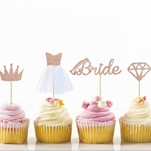 24 Rose Gold Glitter Bride To Be Cupcake Toppers with Diamond,Crown,Bride,3D Tulle Dress Cupcake Toppers for Bridal Shower Supplies, Wedding Engagement, Bachelorette Party Decorations