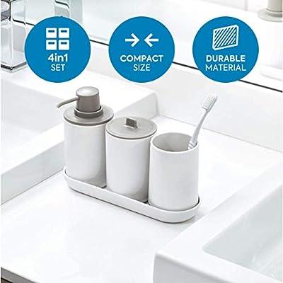 iDesign Set de baño, juego de 4 compuesto por dispensador de jabón ...