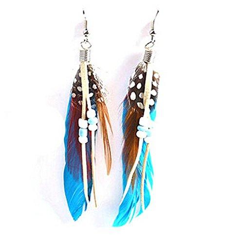 - Smile Crytal - Chic Womens Jewelry Handmade Earrings Goose Feather Dangle Eardrop Hook EAR