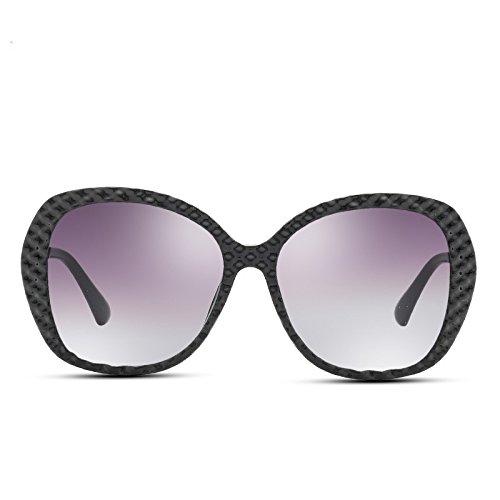 Redondo gafas Black de TL Bastidor Nuevo PC polarizadas mujer negro Sunglasses sol Gran 7HwRqzx