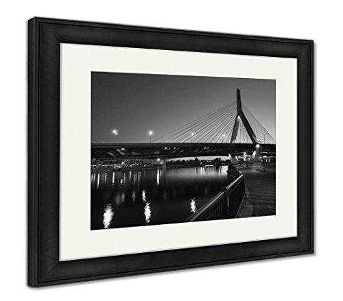Ashley Framed Prints Boston Zakim Bridge Sunset in Bunker Hill Massachusetts USA, Wall Art Home Decoration, Black/White, 30x35 (Frame Size), Black Frame, AG5443783