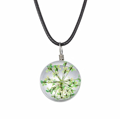 Winter's Secret Handmade DIY Rope Chain Round Shape Green Dried Flower Pendant Crystal Glass Charming Choker - Eyeglasses Little Rock