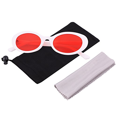 Bold Retro Thick Frame Clout Goggles Oval Mod Lens Candy Eye Sunglass by MAFAGE (White&Red)