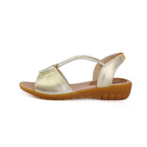 AmoonyFashion Womens Pull On Low Heels Cow Leather Solid Open Toe Sandals Gold 4bWTocj7Nc
