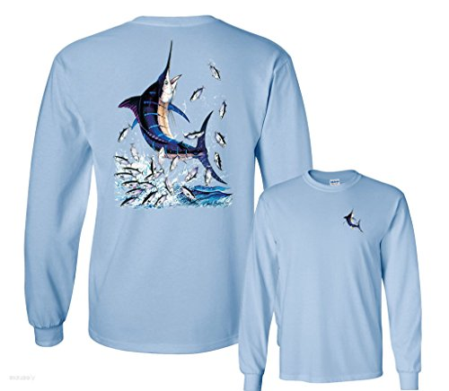 Fair Game Blue Marlin Out Of Water With Little Fishes Fishing Long Sleeve T-Shirt-Light Blue-Large