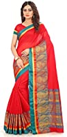 Royal Export Women's Cotton Silk Red Saree-NOR
