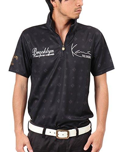 [カールカナイ ゴルフ] Karl Kani GOLF ポロシャツ ドライ モノグラム ハーフZIP 総柄 シャツ 182KG1205 ブラック Mサイズ