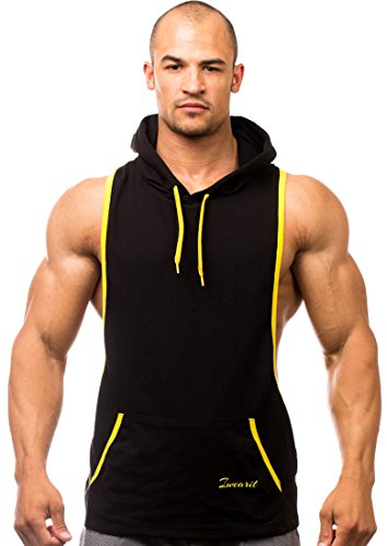 Iwearit Hoody(Blk/Yellow-S) - Cotton(95%) Lycra(5%) Stringer Tank Top Savage Hoodie With Accent Trim