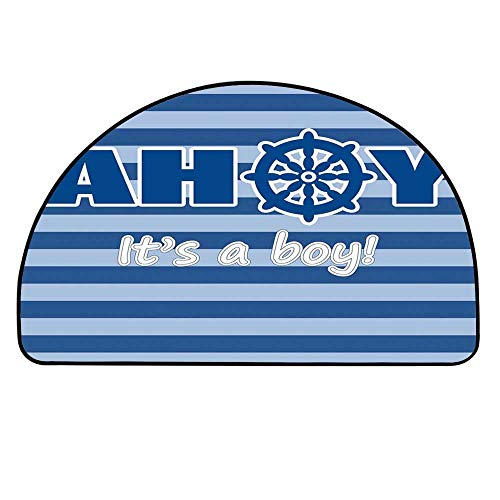 YOLIYANA Ahoy Its a Boy Entry Mat Rugs,Baby Shower New Birth Announcement Marine Wheel Striped Backdrop for Front Door,27.5