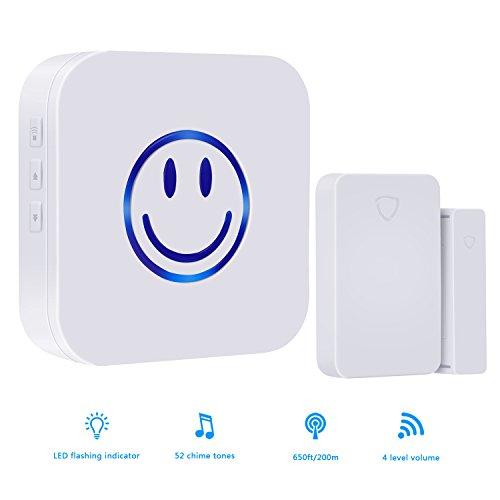 Wireless Door Open Chime, door sensor chime,Door Window Security Alarm-Operating,Range - 650FT / 52 Chime Tunes / LED Indicators ,1 Magnetic Door Chime Sensor(Battery included)& 1 Plugin Receiver