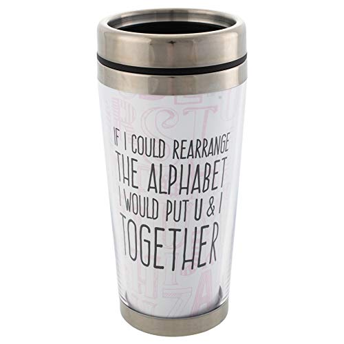 Alphabet You & I Pickup Line 16 Oz Stainless Steel Travel Mug with Lid