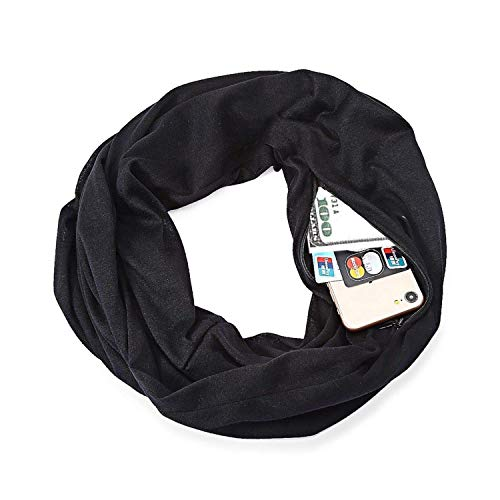 Scarf with Hidden Pocket, Minggo Unisex Wrap Shawl Infinity Scarves Loop Solid Blanket with Hidden Zipper Pocket for Autumn Winter (Black)