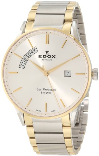 - Edox Men's 83011 357J AID Les Vauberts Automatic Gold PVD Silver Dial Steel Watch