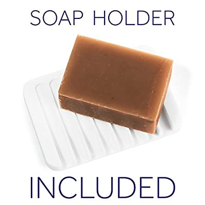 Set of 2 Organic Natural Handmade Soap Bars with Holder. Made of Olive, Coconut, Castor and Lavender Essential oil for Soft Body and Face Wash. Gluten Free Skin Moisturizing Raw Bar for Men and Women
