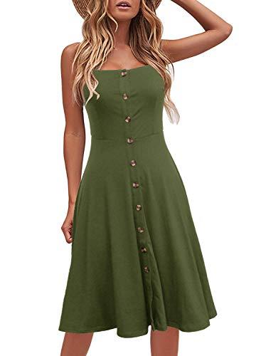 Berydress Women's Casual Beach Summer Dresses Solid Cotton Flattering A-Line Spaghetti Strap Button Down Midi Sundress (S, 6046-Army ()