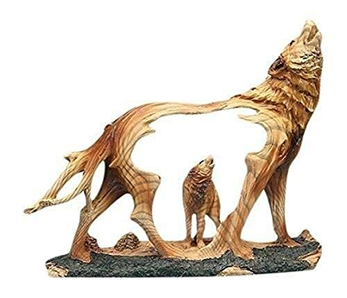 (Ky & Co YesKela Unison Gifts Wolf Howling in The Wild Woodlike Bust Scene Carving Figurine 7.5