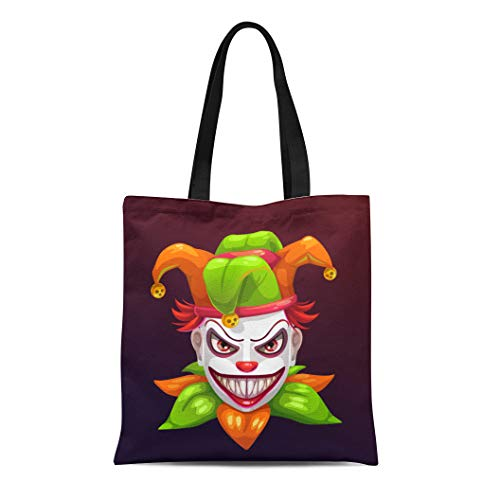 Semtomn Canvas Tote Bag Shoulder Bags Red Bad Crazy Creepy Joker Face Angry Clown Evil Women's Handle Shoulder Tote Shopper Handbag]()