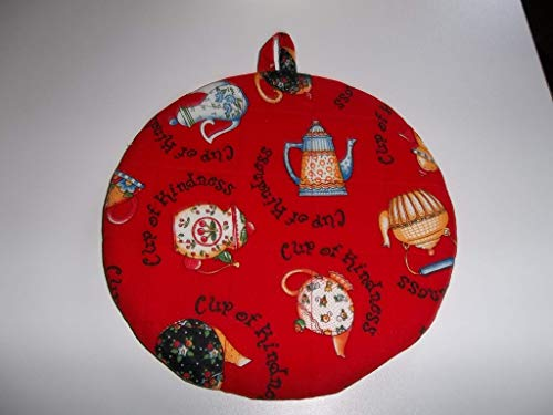 Pot Holders Heat Resistant Mary Engelbreit Cup of Kindness Teapots Potholders Handmade Double Insulated Quilted Hot Pads Trivets 9 inches Round (Last One)