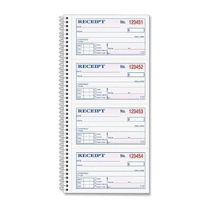 amazon com top4161 tops money rent receipt book blank receipt