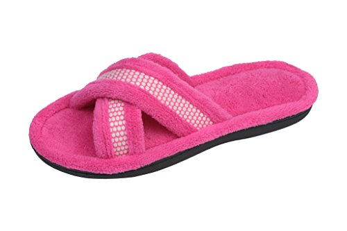 Beverly Rock Womens Polka Dot Criss Cross Open Toe Terry Spa Slide Slipper Pink M