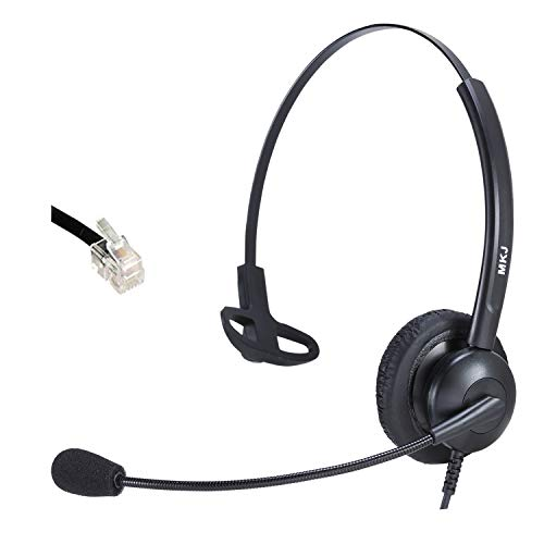 Corded Headset with Microphone for Home Phones Double Ear Noise Cancelling Telephone Headset Compatible with Panasonic Sangoma Snom Yealink Escene Htek etc