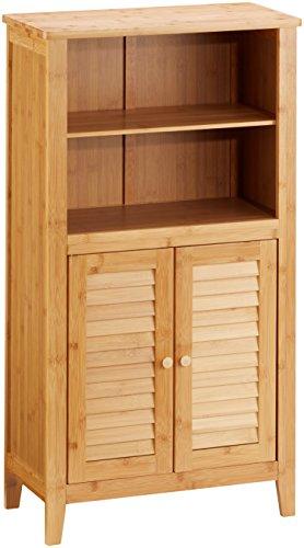 Relaxdays Badezimmerschrank Bambus, HBT: ca. 92 x 50 x 25 cm, Badschrank mit Türen in Lamellen-Optik, natur, 1 Stück