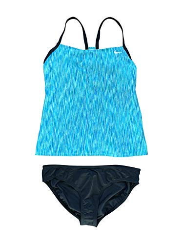 Nike Women's Tankini Athletic Two-Piece Swimsuit (Large, Teal Pattern/Black)