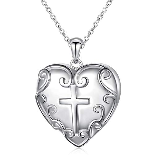- S925 Sterling Silver Heart Urn Lines Pendant Memorial Ashes Keepsake Exquisite Cremation Pendant Necklace