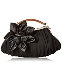 BMC Floral Embellishment Sheer Chiffon Exterior Kissing Lock Framed Party Clutch