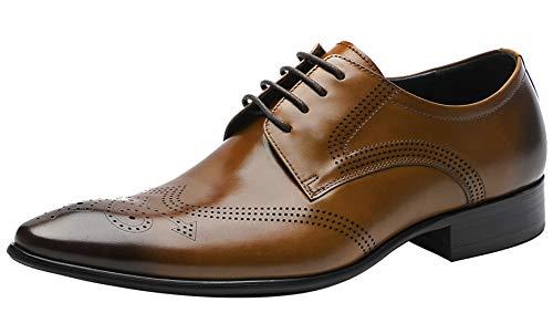 Mens Oxford Shoes Formal Leather Brogue Mens Dress Shoes - Derby Shoes - Men Wedding Shoes Tan 9.5 M US ()
