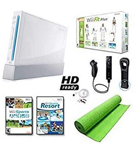 Nintendo Wii Black System HD Ready + Wii Fit Plus, Balance Board Mat - Wii Fit Cables