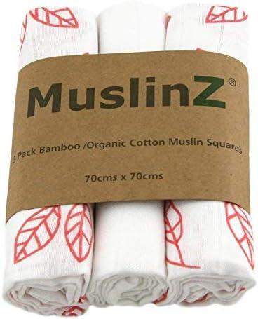 Muslinz Luxury - Cuadros de muselina de bambú y algodón orgánico (70 cm, estampado de hojas de coral, 3 unidades), color blanco: Amazon.es: Bebé