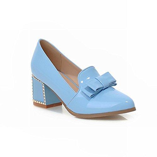 Carol Shoes Sweet Womens Bowknots Cute Grace Pointed-toe Chunky Mid Heel Pumps Dress Shoes Blue 8Kze3i5