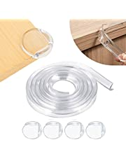 Qniceone Safety Edge Corner Protector Set, Clear Baby Proofing Guards, Soft Silicone Bumper Strip 15.7ft(4m) with Round Child Edge Protector(4pack) for Cabinets,Tables,Furniture