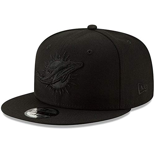 New Era Miami Dolphins Hat NFL Black on Black 9FIFTY Snapback Adjustable Cap Adult One Size