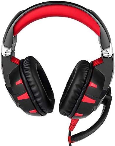 HNSYDS から選択するマイクサブウーファーヘッドセット、簡単な折り畳み式の2色で、有線コンピュータヘッドセットヘッドセット ゲーミングヘッドセット (Color : Red)