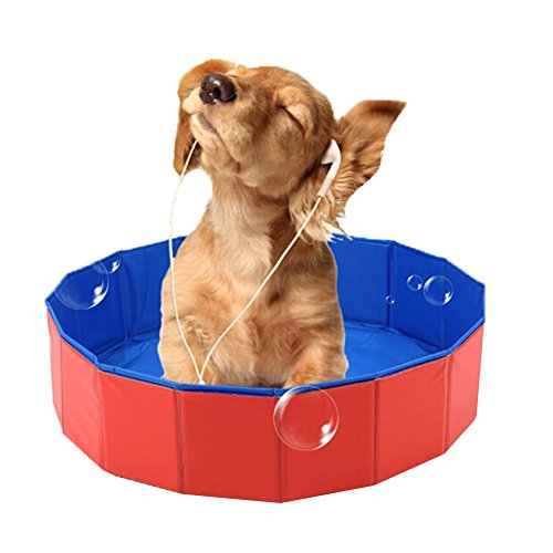 Lalawow Pet Swimming Pool Foldable Dog Bathing Tub Bathtub Dog Cats Washer 24inch.D x 8inch.H
