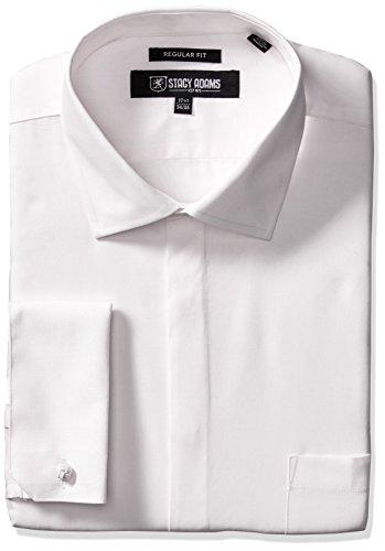 "Stacy Adams Men's 39000 Solid Dress Shirt, White, 17.5"" N..."