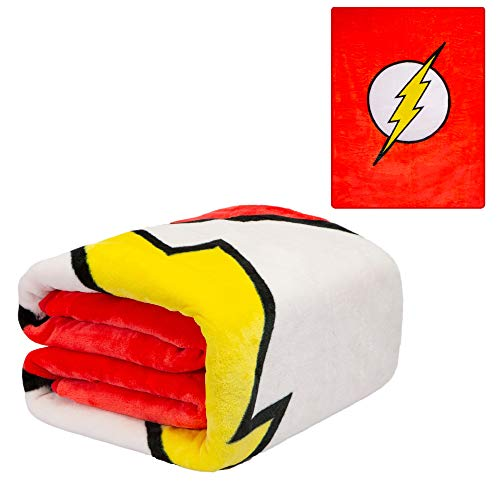 JPI DC Comics The Flash Twin Plush Blanket - The Flash Logo - Officially Licensed - Super Soft & Thick - 60'' x 80'' - 100% Polyester