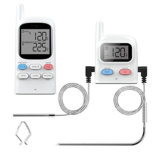 Wireless Remote BBQ Meat Thermometer Wosports Digital Instant Read Grill Barbeque Roast Kitchen Food Cooking Thermometer with Dual Stainless Steel Probe, Monitor Food From 300FT Away