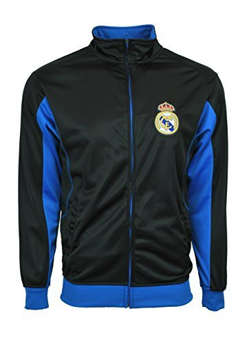 Real Madrid Jacket Track Soccer Adult Sizes Soccer Football Official Merchandise (Black, L)