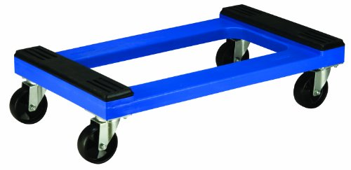 Akro-Mils RMD3018RC4PN Steel Reinforced Padded Rubber Capped Plastic Dolly, 30-Inch by 18-Inch, Blue - Wood Steel Plastic Platform Trucks
