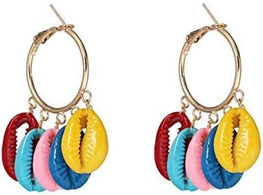 LSZFCHEH Pendientes de Gota de Perlas Simples de Moda para Mujer Joyas de Boho de Verano Pendientes de Concha de mar Natural Hechos a Mano para niñas