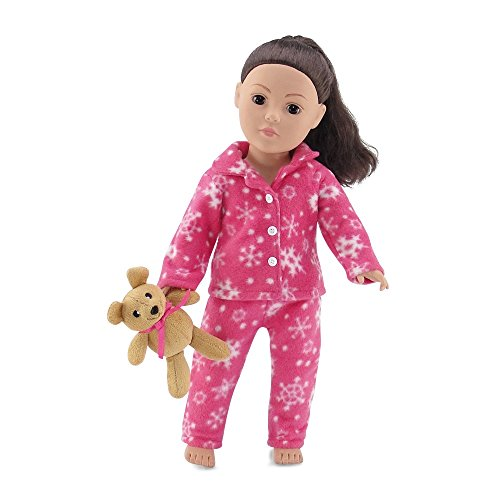 18 Inch Doll Clothes | Cozy Bright Pink and White Snowflake Print 2 Piece Pajama PJ Outfit with Teddy Bear | Fits American Girl - Teddy Snowflake Bear