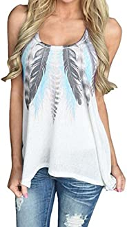 TOPUNDER Women Clothing Women Tank Feather Tops Sleeveless Shirts Blouse Casual T-Shirt by Topunder