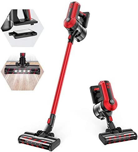 MOOSOO Cordless Vacuum, 300W Powerful Stick Vacuum, 5 Stages Filtration System, 35 minutes Runtime, 4-in-1 Vacuum Cleaner for Hard Floor Carpet Pet Car