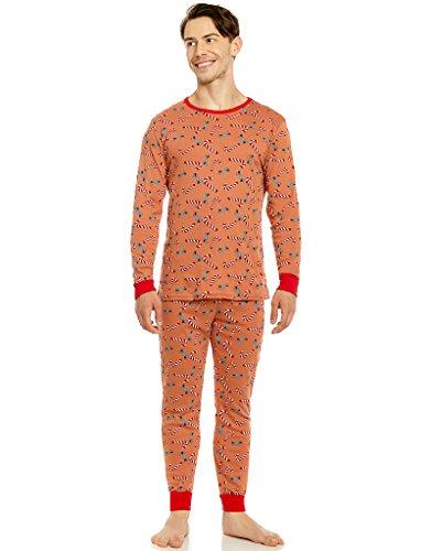 Candy Cane Set - Leveret Organic Cotton Candy Cane Men 2 Piece Pajama Set Large