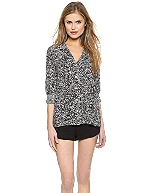 Calvin Klein Underwear Women's Woven Long Sleeve PJ Top